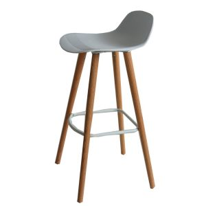 Set of 2 Penelope White barstools with natural solid Red Oak legs