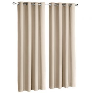 Art Queen 2 Panel 140 x 213cm Block Out Curtains - Latte