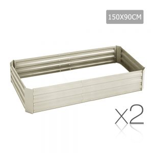 Green Fingers Set of 2 Galvanised Steel Garden Bed - Cream