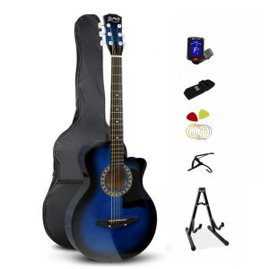 Alpha 38 Inch Wooden Acoustic Guitar Set - Blue