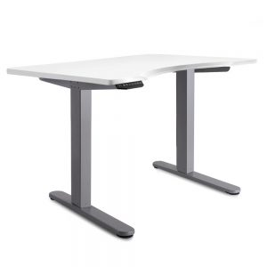 140cm Curved Adjustable Desk - White