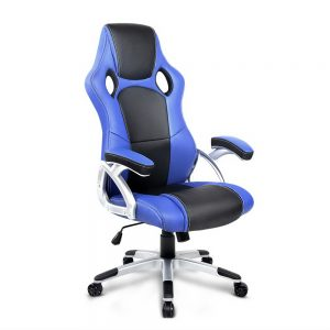 PU Leather Padded Office Desk Computer Chair - Blue