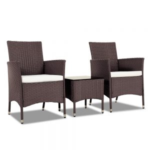 Gardeon 3 Piece Rattan Outdoor Furniture Set - Brown