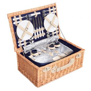 Alfresco Willow 4 Person Picnic Basket - Navy