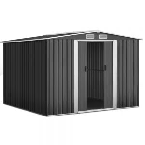 Giantz 2.57 x 2.57m Steel Base Garden Shed - Grey