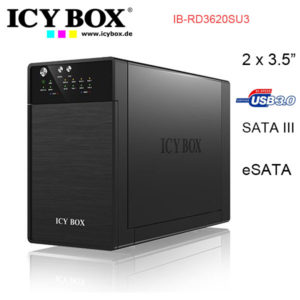 ICYBOX IB-RD3620SU3 RAID system for 2x 3.5 inc SATA HDD to USB 3.0 + eSATA Host