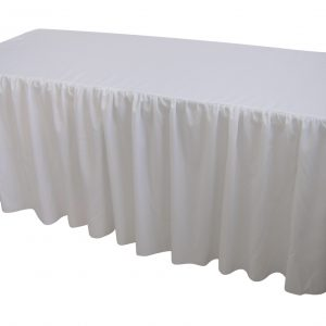 6 Foot Gathered White Table Cloth Trestle Cover